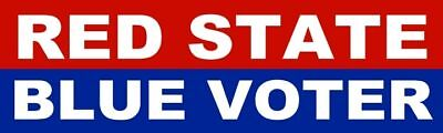 Democrat Bumper Sticker Red State Blue Voter