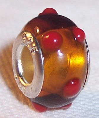 Amber Red Dot Brown Murano Glass Bead For Silver European Style Charm Bracelets