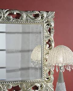 Specchio stile barocco vera foglia d 39 argento intagliata for Specchio barocco argento
