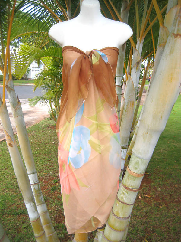 Sheer Sarong Brown W Pink Amp Blue Florals Beach Bikini