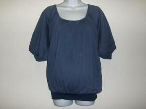 Nuka-Short-Sleeve-Deep-Blue-Cotton-Maternity-Top-New