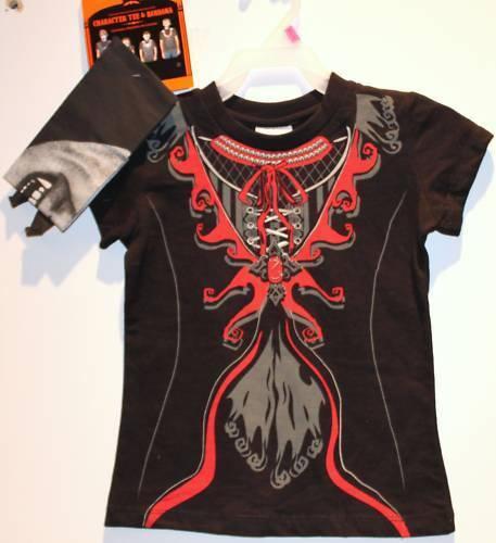 Vampire T-shirt & Bandana Girls Goth Halloween Twilight Easy Costume Xs S M
