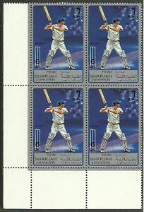 SHARJAH-1972-SPORT-CRICKET-1-Value-BLOCK-4-MNH