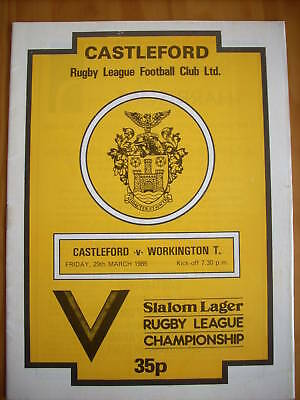 29.3.85 Castleford v Workington Town programme