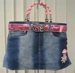 Denim-Bootie-Bag-Blue-Jean-Purse-w-Sequins-Pink-Belt