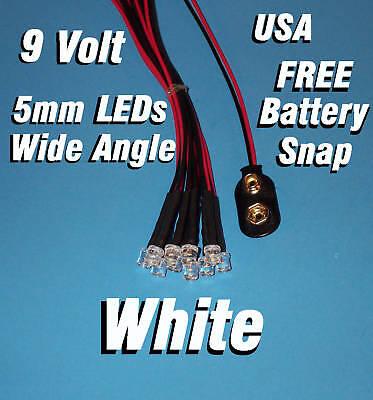 10 X Led - 5mm Pre Wired Leds 9 Volt Wide White 9v