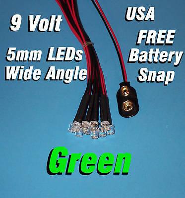 10 X Led - 5mm Pre Wired Leds 9 Volt Wide Green 9v