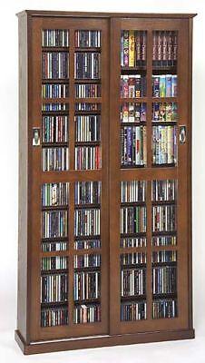 Sliding Glass Door 700 Cd 336 Dvd Storage Cabinet New Ebay