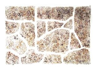 flagstone stencil floor patio castle or rock wall ebay. Black Bedroom Furniture Sets. Home Design Ideas