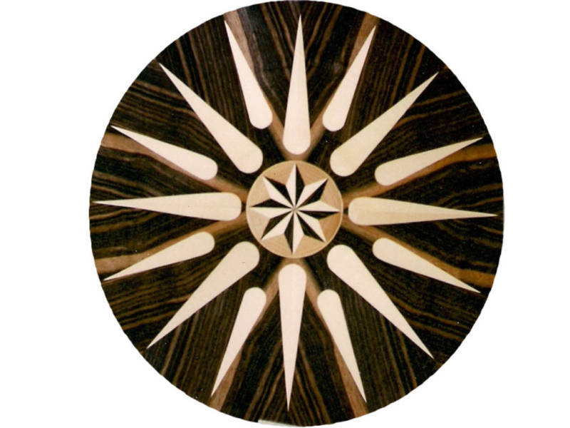 COMPASS ROSE NAUTICAL STAR MARQUETRY INLAY  VENEER MOT