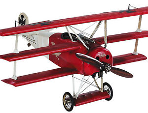 Red-Barons-WWI-Fokker-Triplane-Plane-Wood-Built-Model