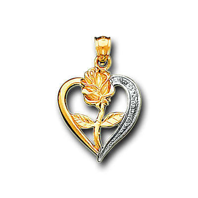 14K Solid Real Two Tone Yellow Gold Love Heart Flower Rose Charm Pendant
