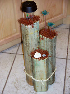 Details about palm trees wooden decorative garden solar light post