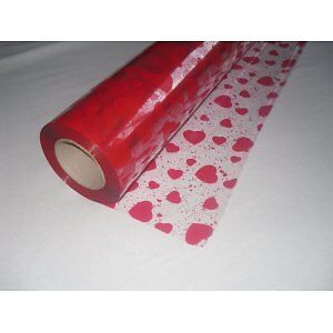 20 Metres x 80cm Speckled Hearts Cellophane Florists Gift Wrap