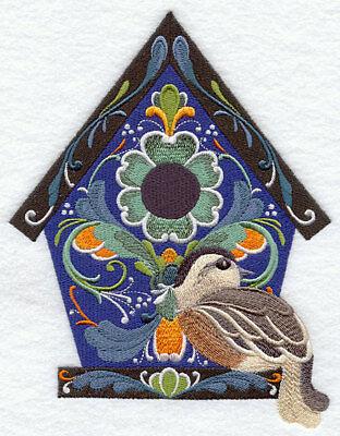Rosemaling Birdhouse-machine Embroidered Quilt Block(az