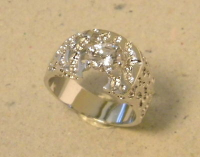 Men's Large Solitaire CZ Nugget Horseshoe Fashion Ring Rhodium Plated Size 10.5