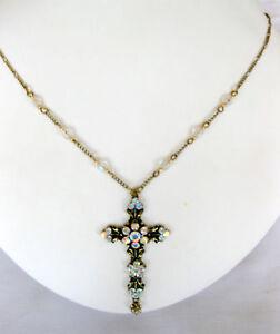 Michal-Negrin-Swarovski-Crystal-Victorian-Brass-Cross-amp-Chain