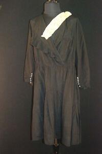 RARE-VINTAGE-FRENCH-1920S-30S-BLACK-SILK-CREPE-DRESS