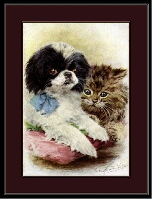 English Print Japanese Chin Pup Dog Tabby Cat Picture