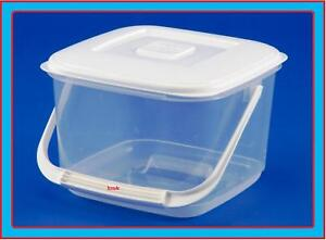 Image Is Loading 6L SQUARE PLASTIC FOOD STORAGE CONTAINER WITH HANDLE