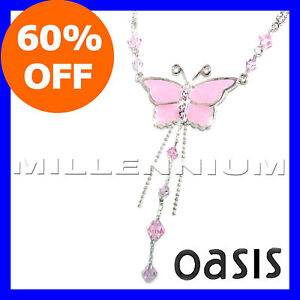 STERLING-SILVER-Pink-Butterfly-Pendant-Necklace-Chain