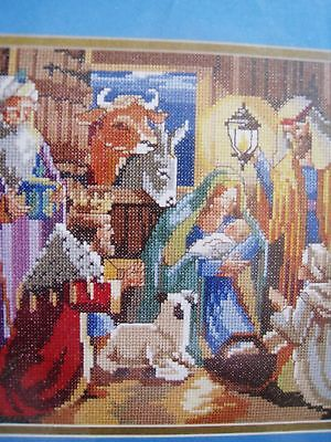 Bucilla-Christmas-Holiday-Counted-Cross-Picture-KIT-NATIVITY-Family-Manger-Rossi