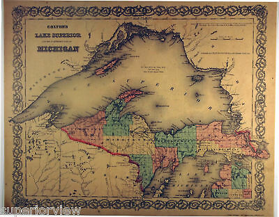 1872 Lake Superior Map Iron Copper Mines Michigan GREAT