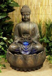 Buddha Water Feature Fountain Cascade Bronze Effect Coloured Lights Lightweight