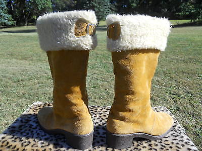Buy snow boots winter recreation - Vintage 60s Fleece Leather Suede Winter Snow Boots 7