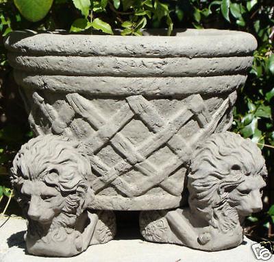 Stone LION POT FEET (SET/3) Cement Outdoor Plant Planter Riser for Drainage (A)