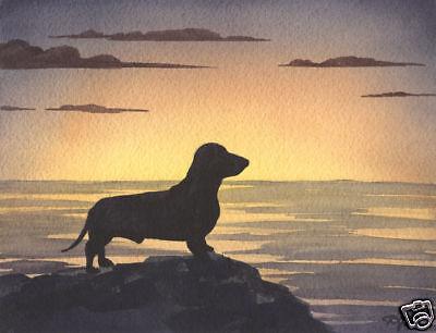 DACHSHUND SUNSET Art Painting 8 x 10 Print Signed by Artist DJR