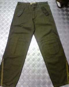 Green-Italian-Army-Style-Straight-Leg-Trousers-Knee-Pads-Zips-Size-34-NEW