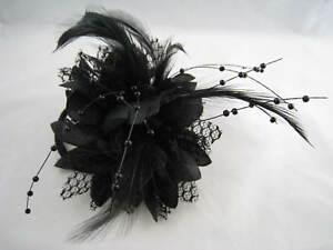 Black-Flower-Feather-Bead-Corsage-Hair-Clips-Fascinator
