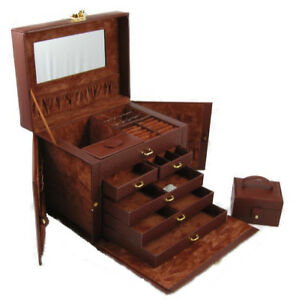 BEAUTIFUL LARGE BROWN LEATHER JEWELRY BOX CASE STORAGE LOCKED WITH KEY
