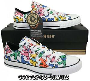Men-Women-CONVERSE-All-Star-GRATEFUL-DEAD-BEARS-OX-WHITE-Lo-Trainers-Shoe-SIZE-9