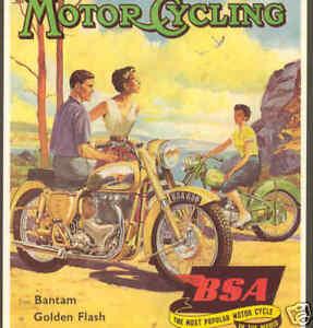 MOTORCYCLE-ADVERTISING-BANTAM-GOLDEN-FLASH-POSTCARD