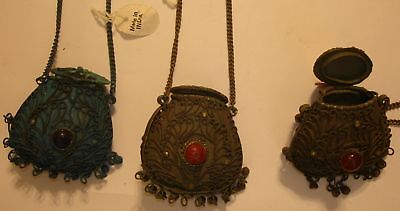 Vintage India Purse Pendant Necklaces Buy 1 Brown, Get 2 Teal Green Free