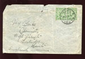 GB KG5 DOWNEY 1/2d PAIR on 1912 COVER..NAPOLI PORTO PMK