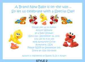 Baby sesame elmo big bird baby shower invitations ebay image is loading baby sesame elmo big bird baby shower invitations filmwisefo Image collections