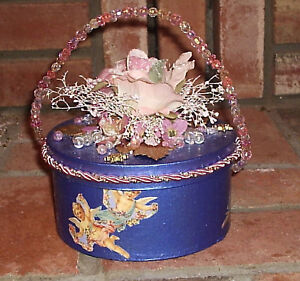 Handcrafted-Christmas-holiday-gift-box-with-beaded-handle-angels-and-rose