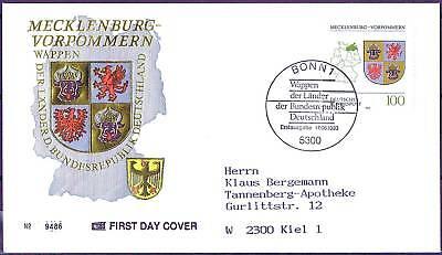BRD 1993: Mecklenburg-Vorpommern FDC Nr. 1661 mit Bonner Stempel! Gelaufen! 1607