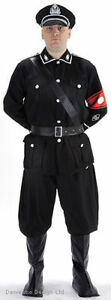 MENS WW2 40s GERMAN SOLDIER BLACK MILITARY UNIFORM FANCY DRESS COSTUME OUTFIT