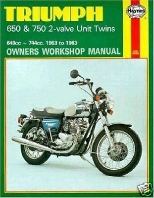 Triumph 650 750 T140 Bonneville Tiger Trophy Thunderbird Haynes Manual 0122 NEW