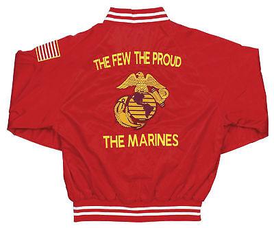 U.s.marine Corps Red Satin Jacket W/ Flag & Emblem