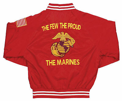 U.s.marine Corps Red Satin Jacket W/ Flag & Emblem