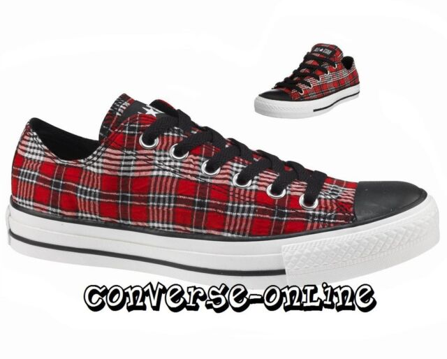 d70a3acb2892 Women s Men s CONVERSE All Star Red Black Low Trainers Shoes Sneakers UK ...
