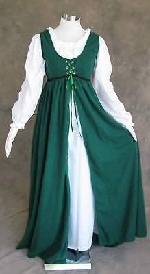 Ren Faire Dress Medieval Renaissance Costume LARP Green Gown w Long Chemise XL