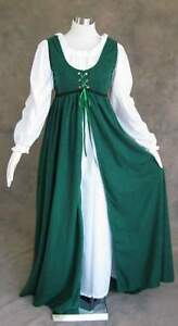 Renaissance-Ren-Faire-Medieval-Gown-Dress-and-Cemise-SCA-LOTR-Costume-GREEN-L