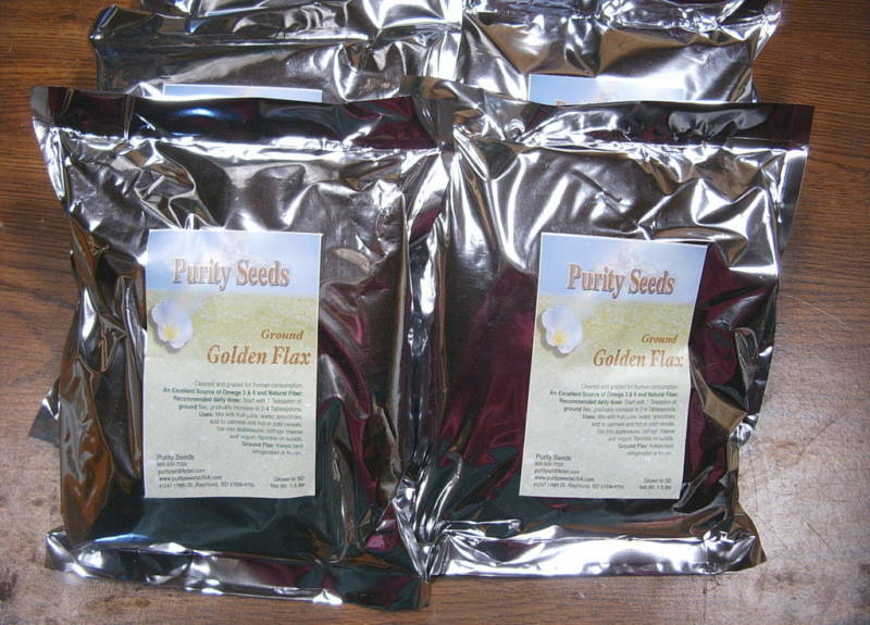 (6) 1.5  lb. Purity Seeds ground Golden Omega flaxseed, linseed -FREE SHIPPING