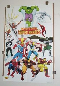 1989-Marvel-poster-X-Men-Spider-man-Avengers-Thor-Iron-Man-Hulk-Captain-America